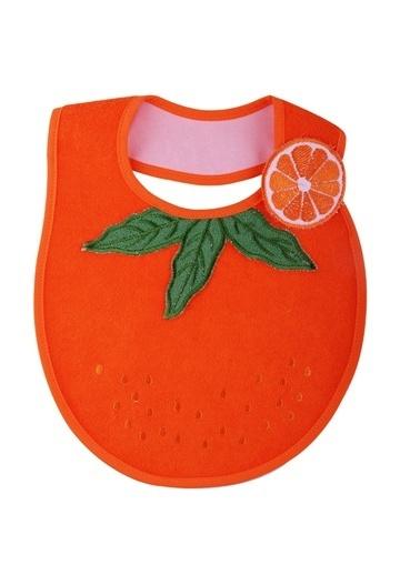 Baby Jem Portakal Desenli Mama Önlüğü  Oranj